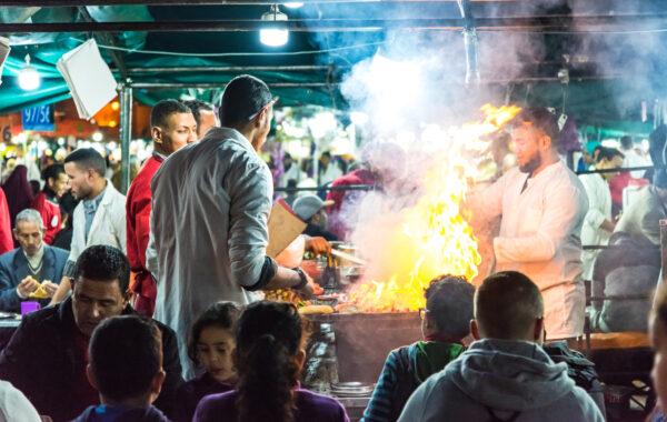 Sample street food in the Jemaa el Fna