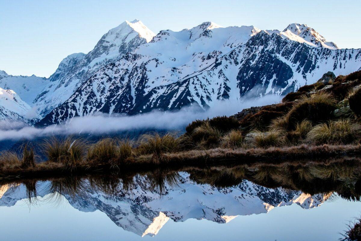 Aoraki Mt Cook national park mt cook reflected in a tarn