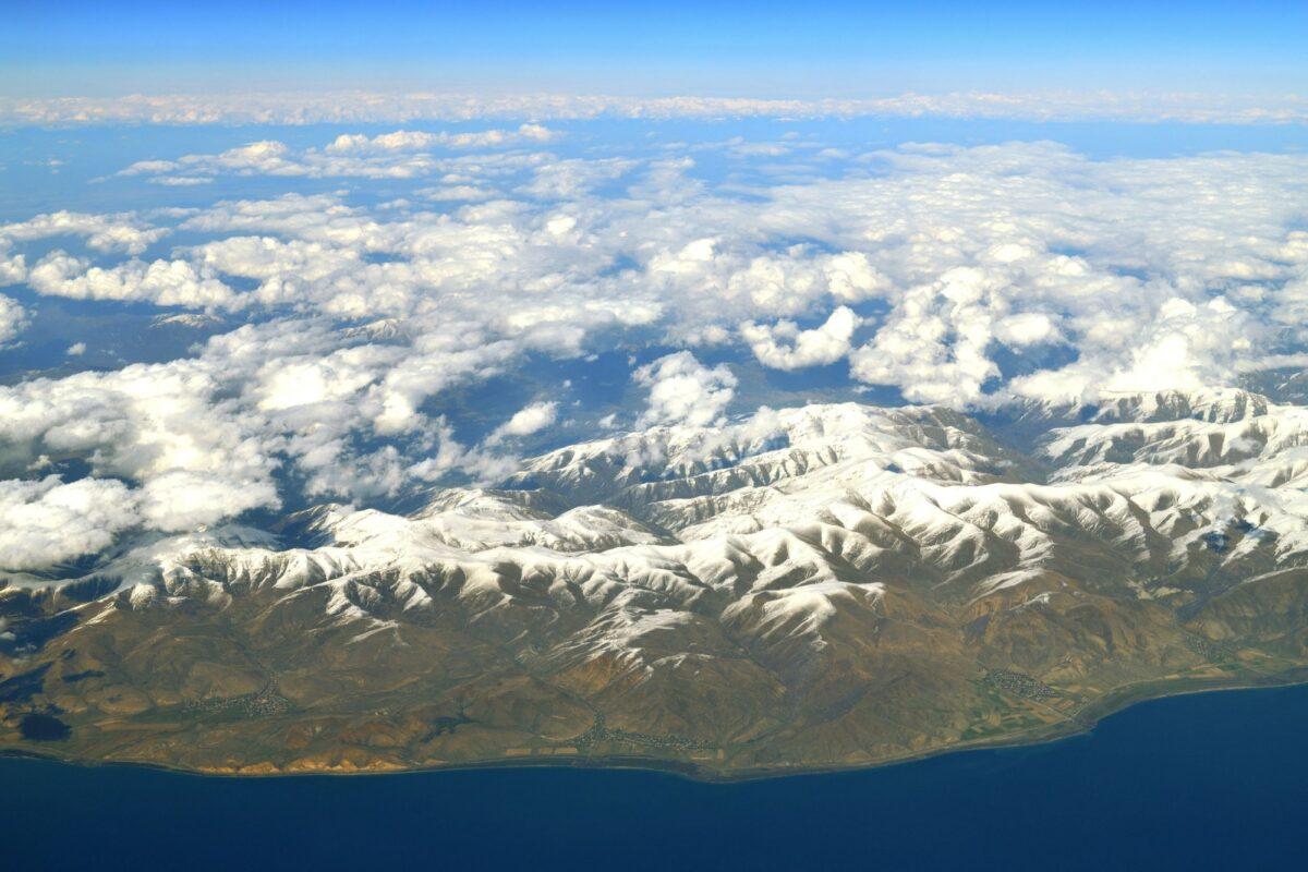 Armenia Lake Sevan mountains aerial view