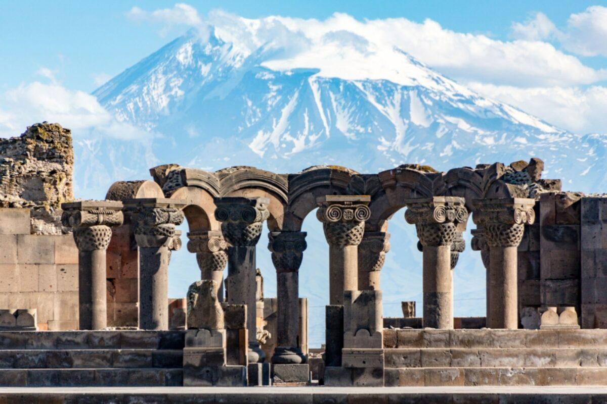 Armenia Yerevan Zvartnos temple ruins Mt Ararat in the background