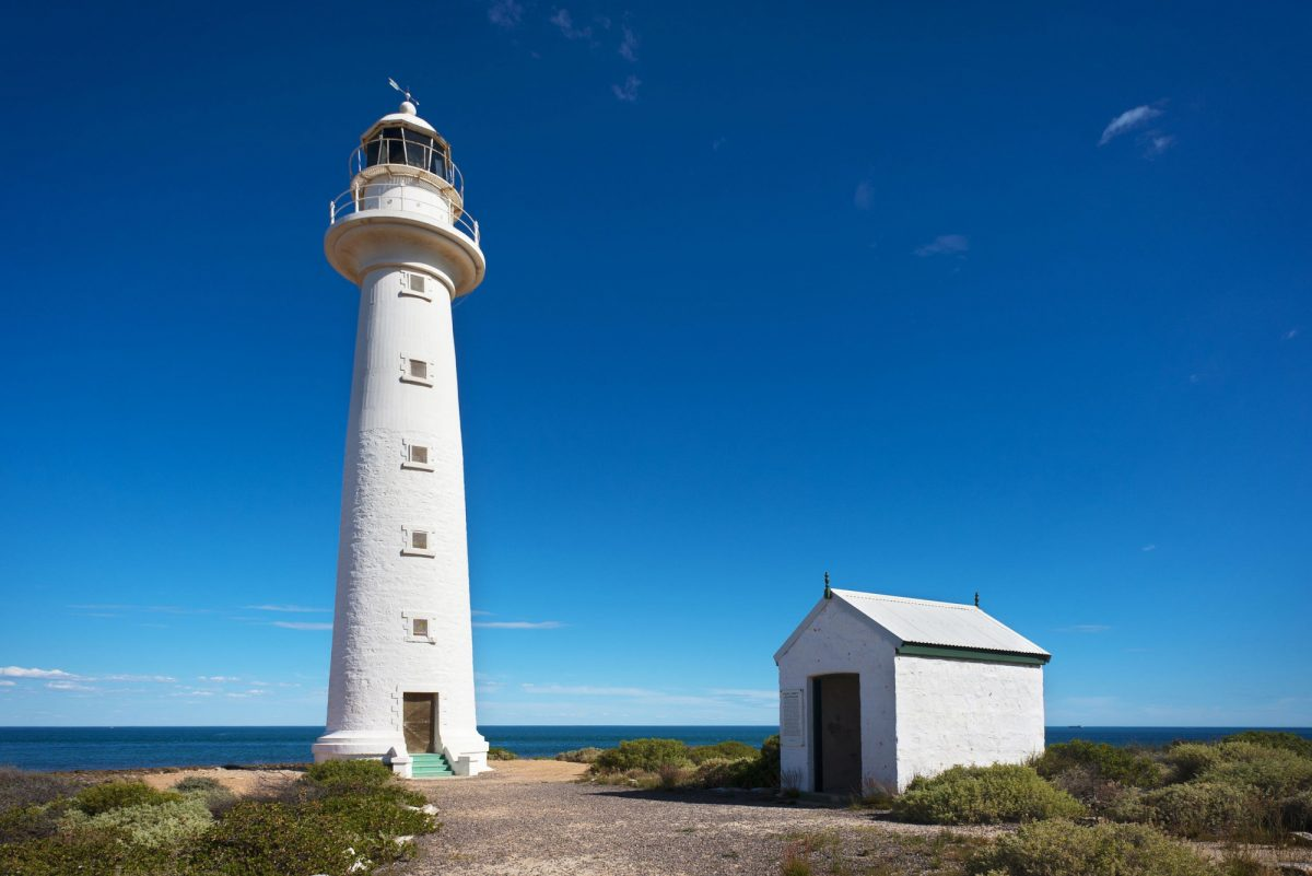 Australia Whyalla white lighthouse on a headland overlooking the coast