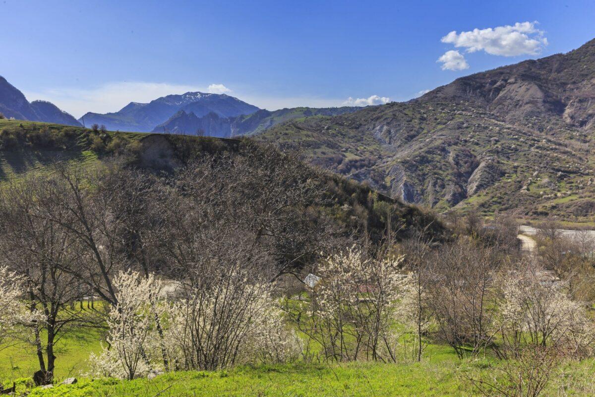 Azerbaijan Lahij hills near the village