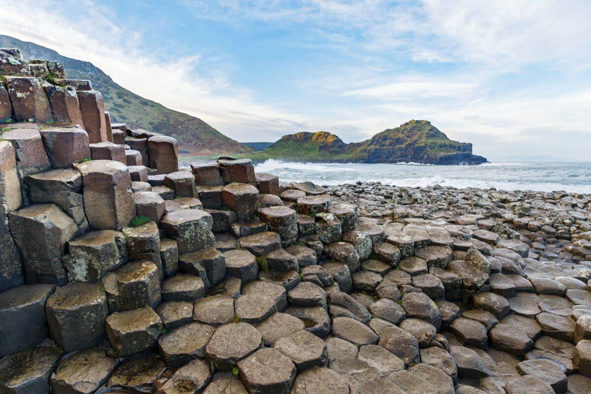 Basalt columns of Giants Causeway in northern Ireland UK