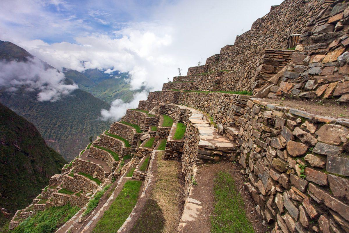 Choquequirao Inca trekking trail near Machu Picchu Cuzco region in Peru