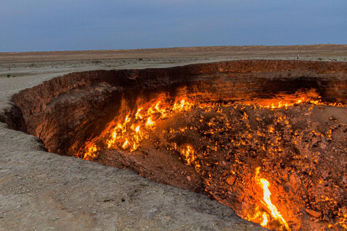 Darvaza Derweze gas crater called also The Door to Hell in Turkmenistan