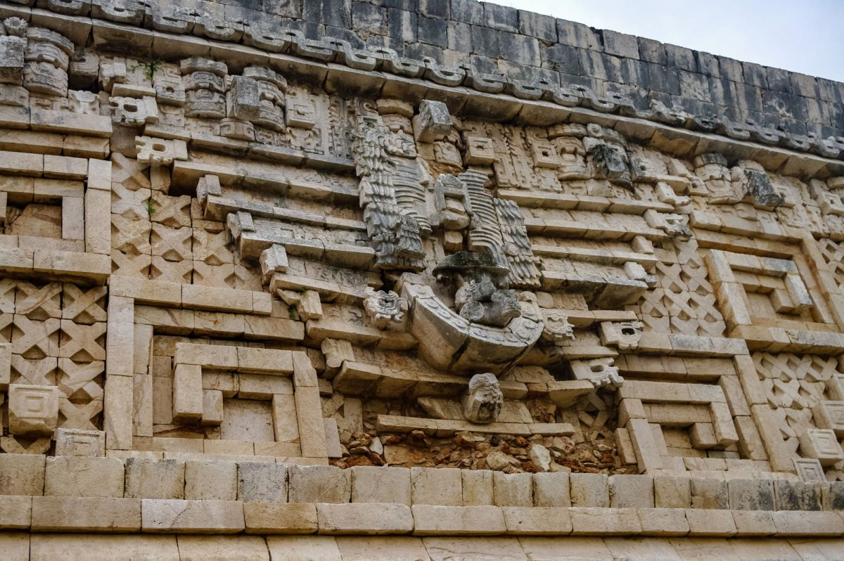 Details on the governors palace in the ancient Mayan ruins of Uxmal Mexico