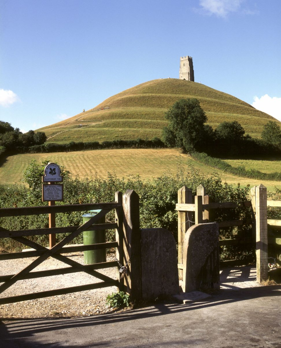 England Somerset Levels Wessex Somerset Glastonbury View of The Tor St Michaels Chapel