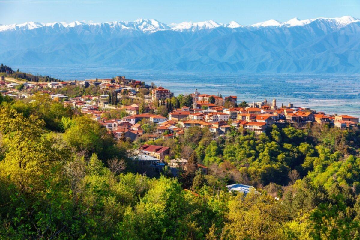 Georgia Kakheti region Signagi and Aalazani valley sunset
