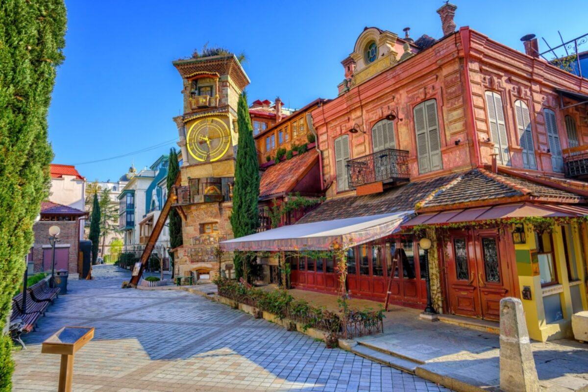 Georgia Tbilisi fairy tale Clock Tower of puppet theater Rezo Gabriadze