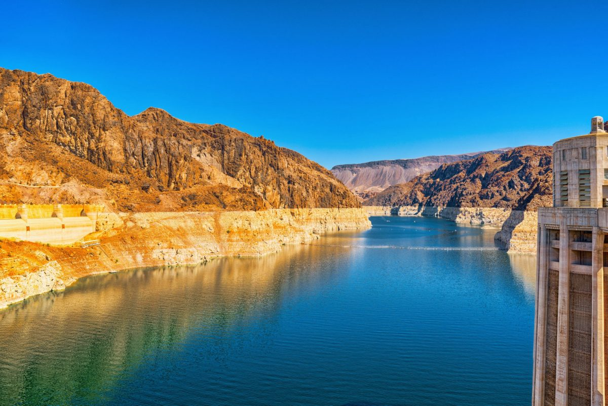 Hoover Dam at Lake Mead Nevada and Arizona Border USA