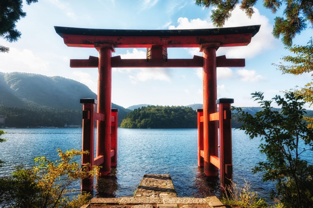 Japan Hakone The torii gate which stands on the shore of Lake Ashi