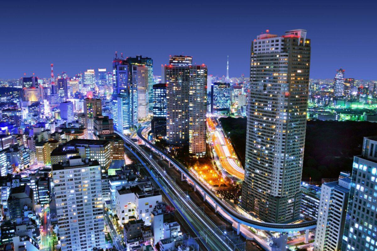 Japan Tokyo Dense buildings in Minato ku