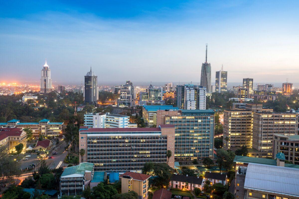 Kenya Nairobi nightime skyline