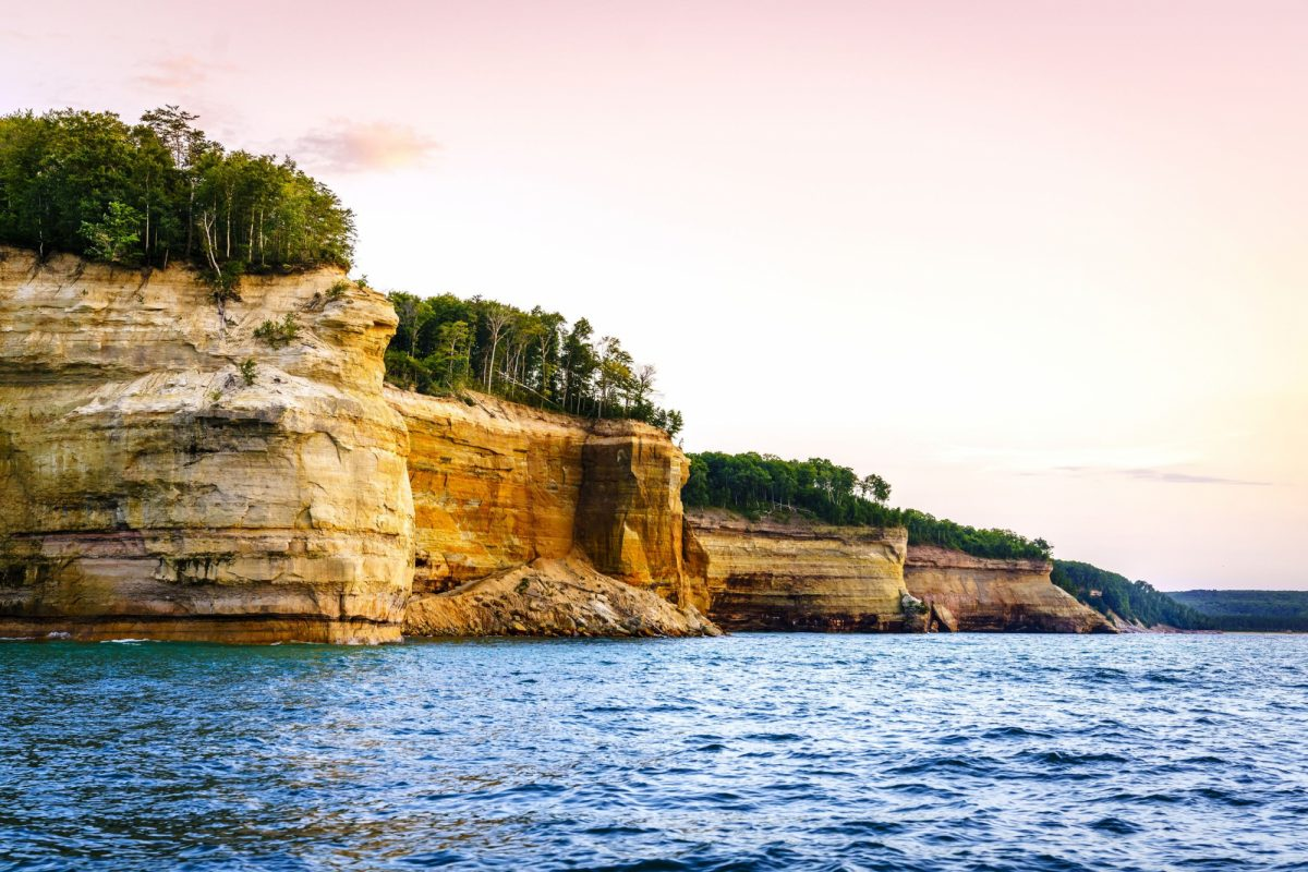 Lake Superior coastline at Pictured Rocks National Lakeshore on Upper Peninsula Michigan usa