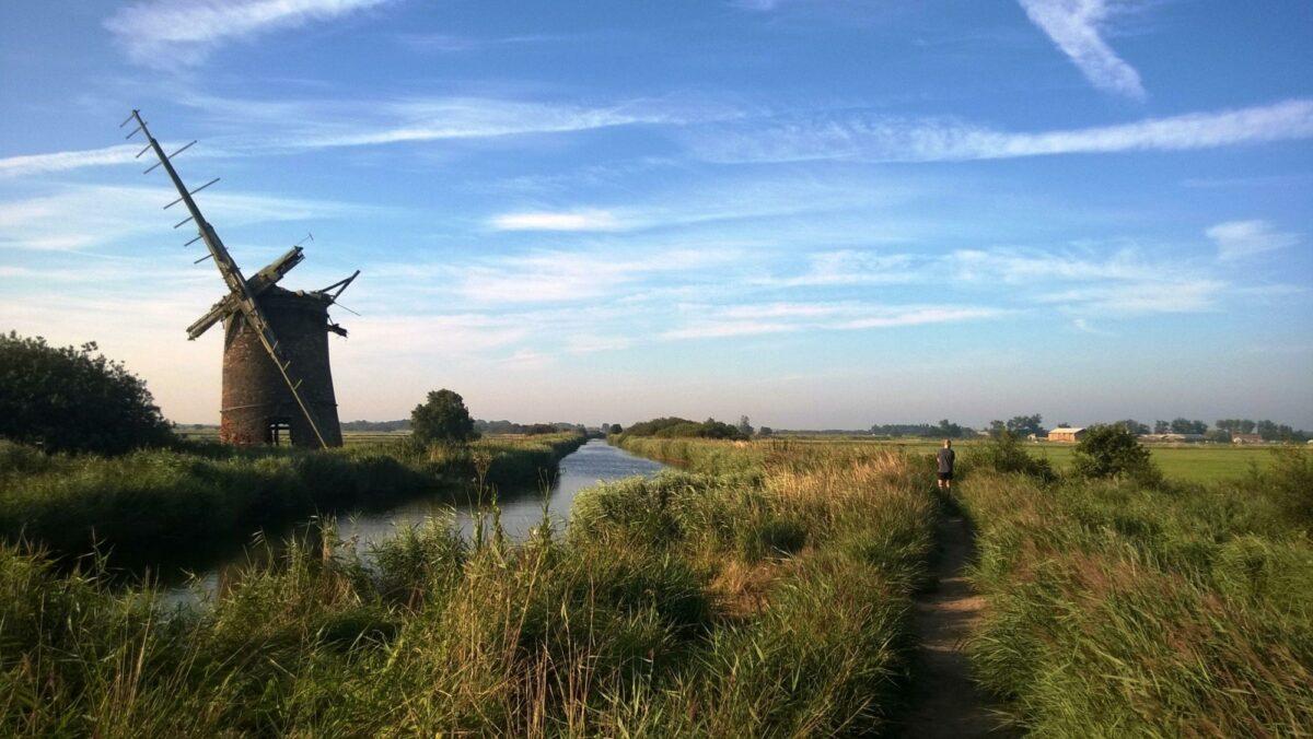 Landscape of Horsey windmill on the Norfolk Broads england uk