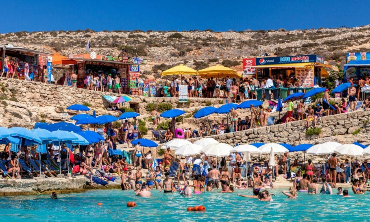 Malta Comino Island July 16 crowded beach Blue lagoon