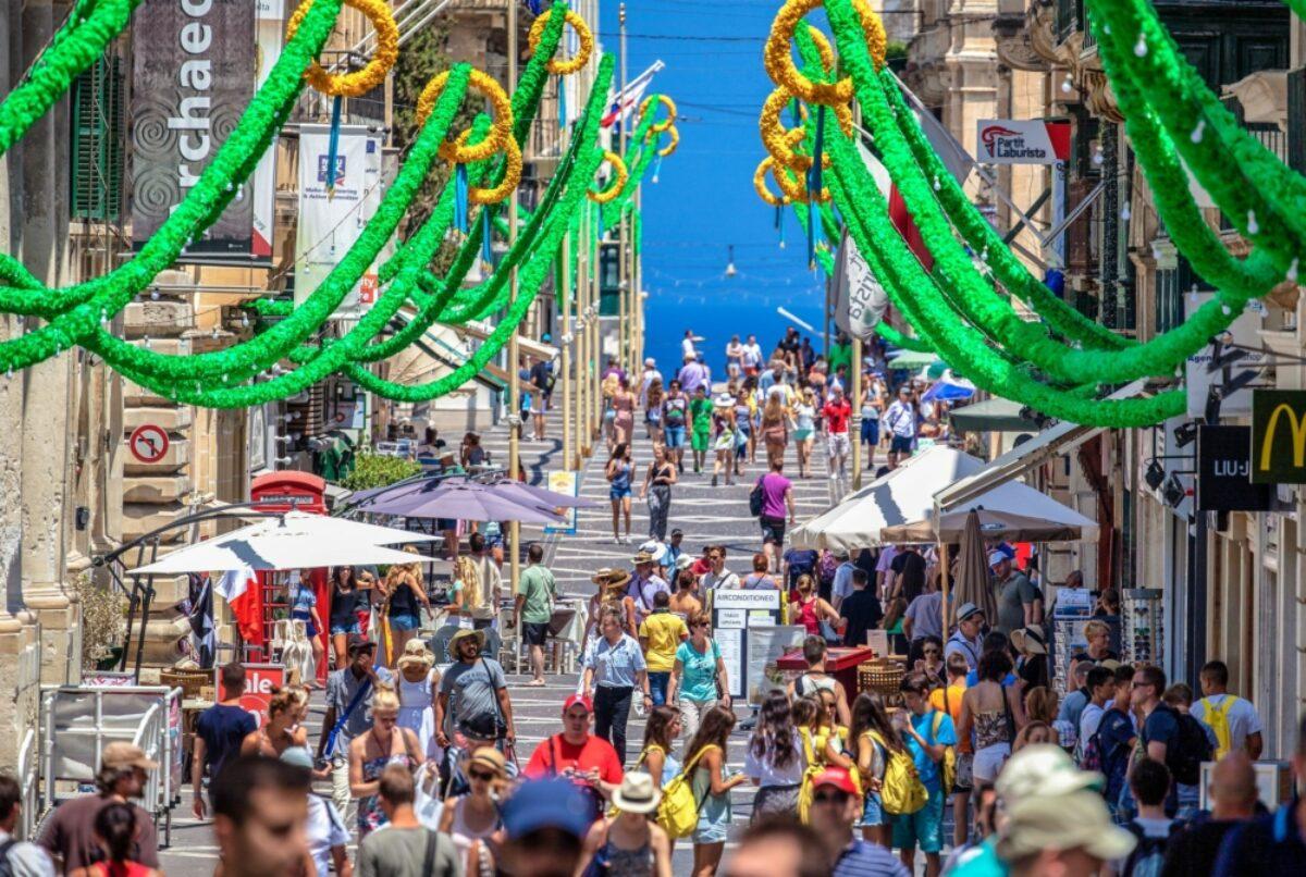 Malta Valetta July 2015 A lot of people on the street of city Valletta