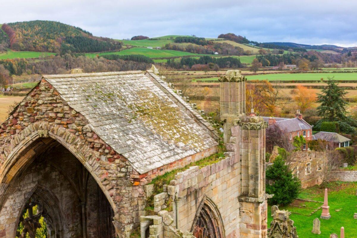 Melrose Abbey ruins Scottish Borders
