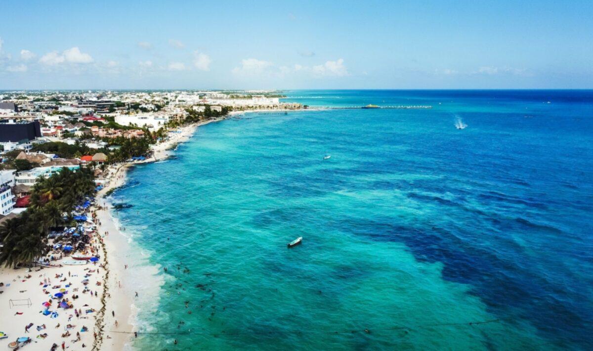 Mexico Playa del Carmen aerial view of public beach