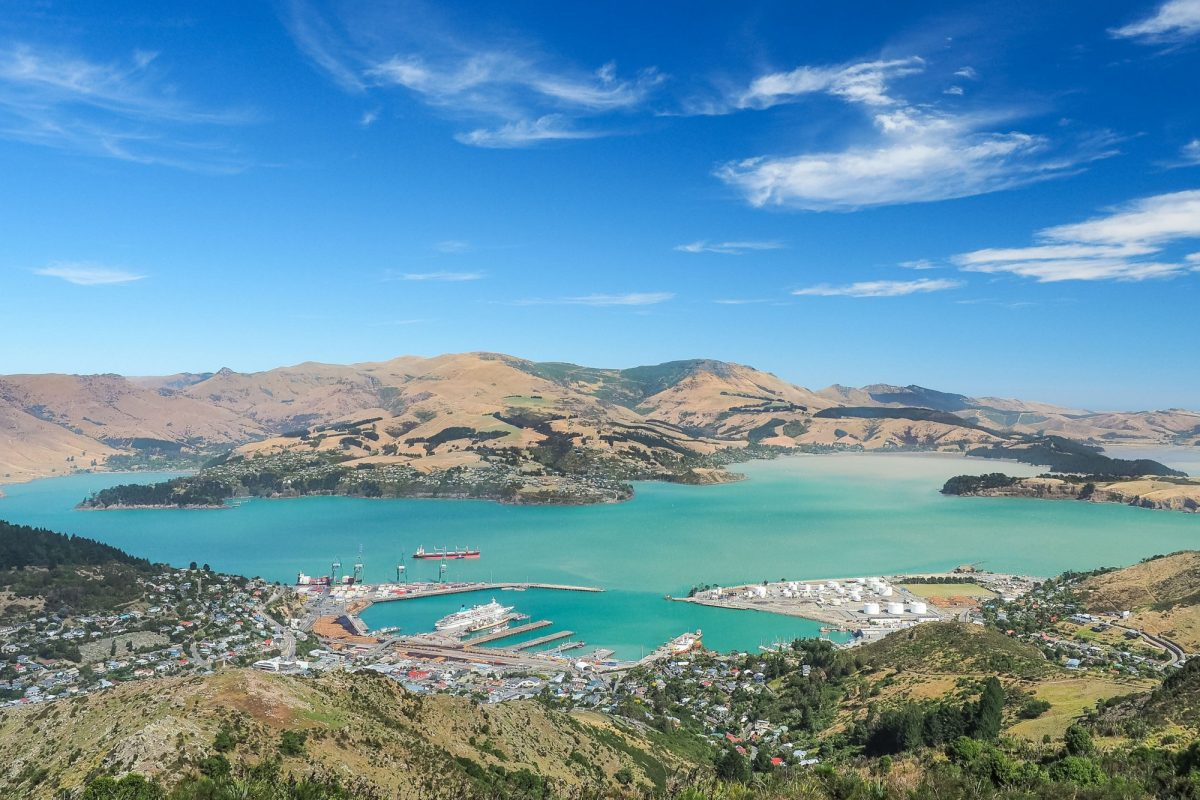 NZ Christchurch Aerial view of Lyttelton port from the top of Christchurch Gondola Station at Port Hills