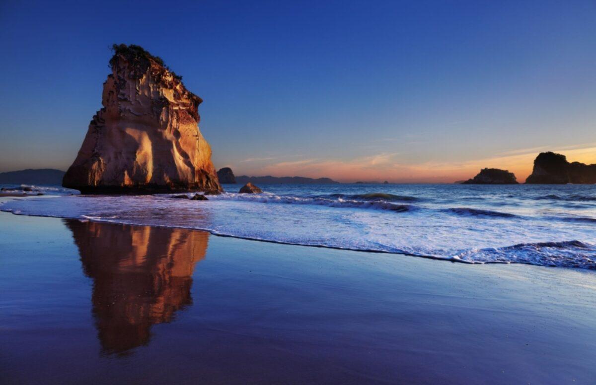 NZ Coromandel Hoho Rock at sunrise Cathedral Cove