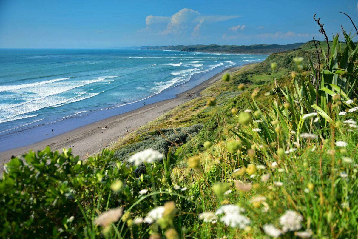 NZ Raglan Black sand Ngarunui Beach