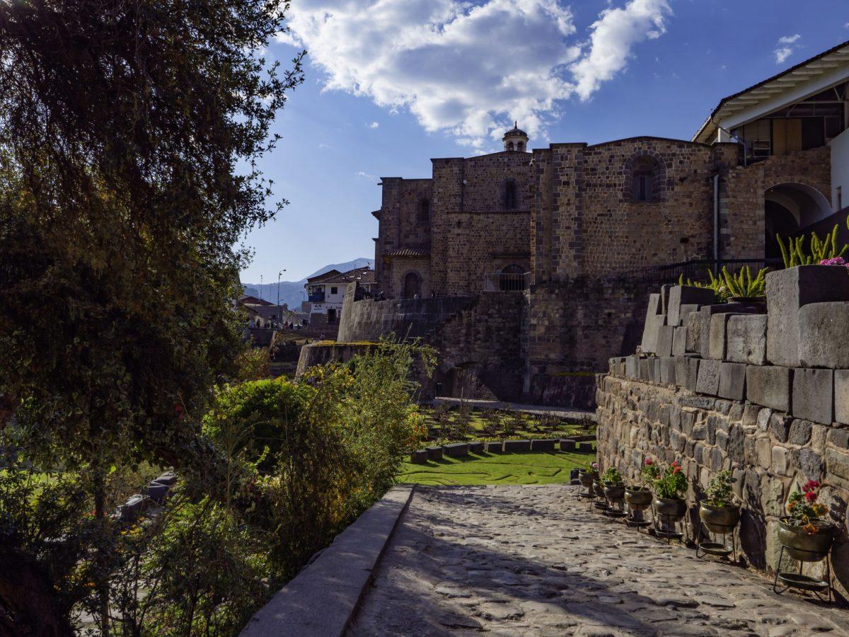 Outdoor Gardens Convent of Santo Domingo with ruins of Qorikancha Temple Coricancha City of Cusco Peru