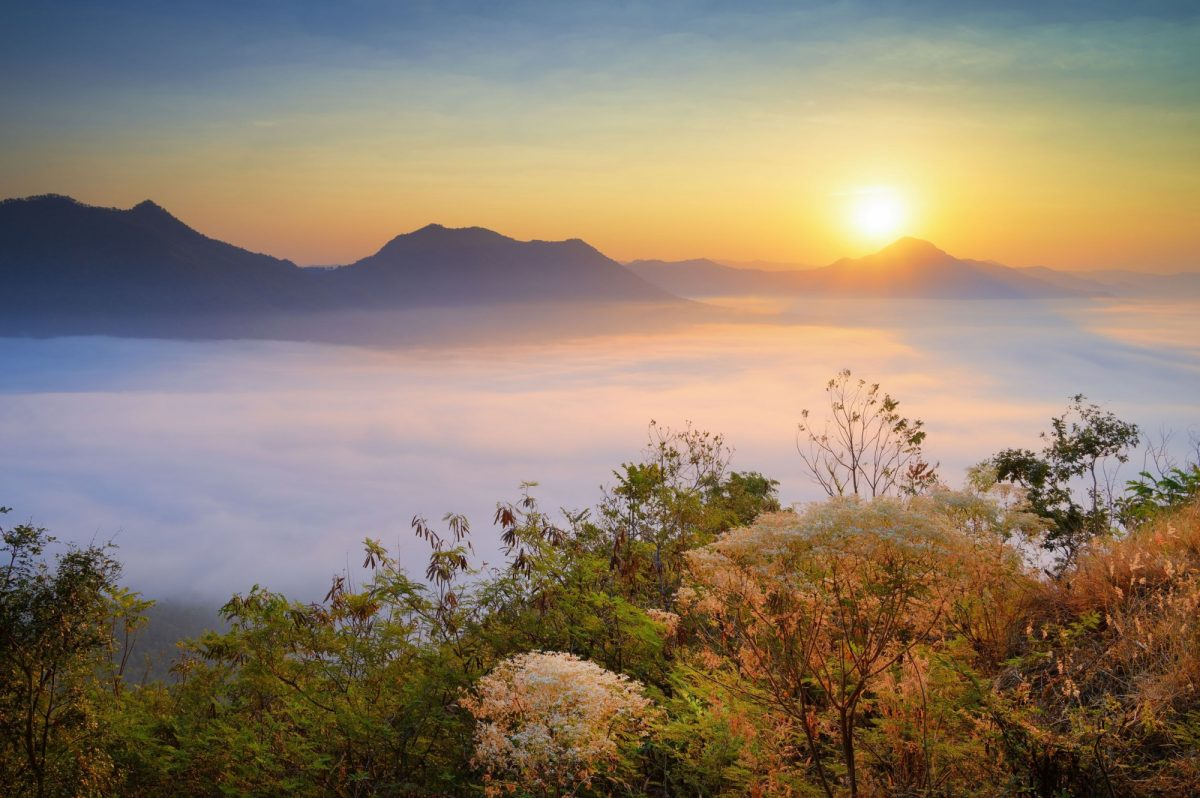 Phu Thok hill viewpoint the famous viewpoint of Chiang Khan city in Loei province Thailand