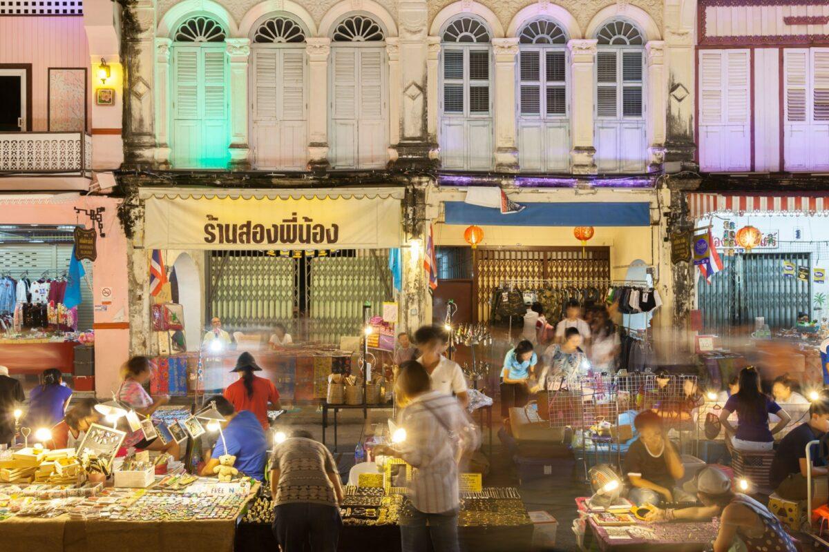 Phuket old town market thailand