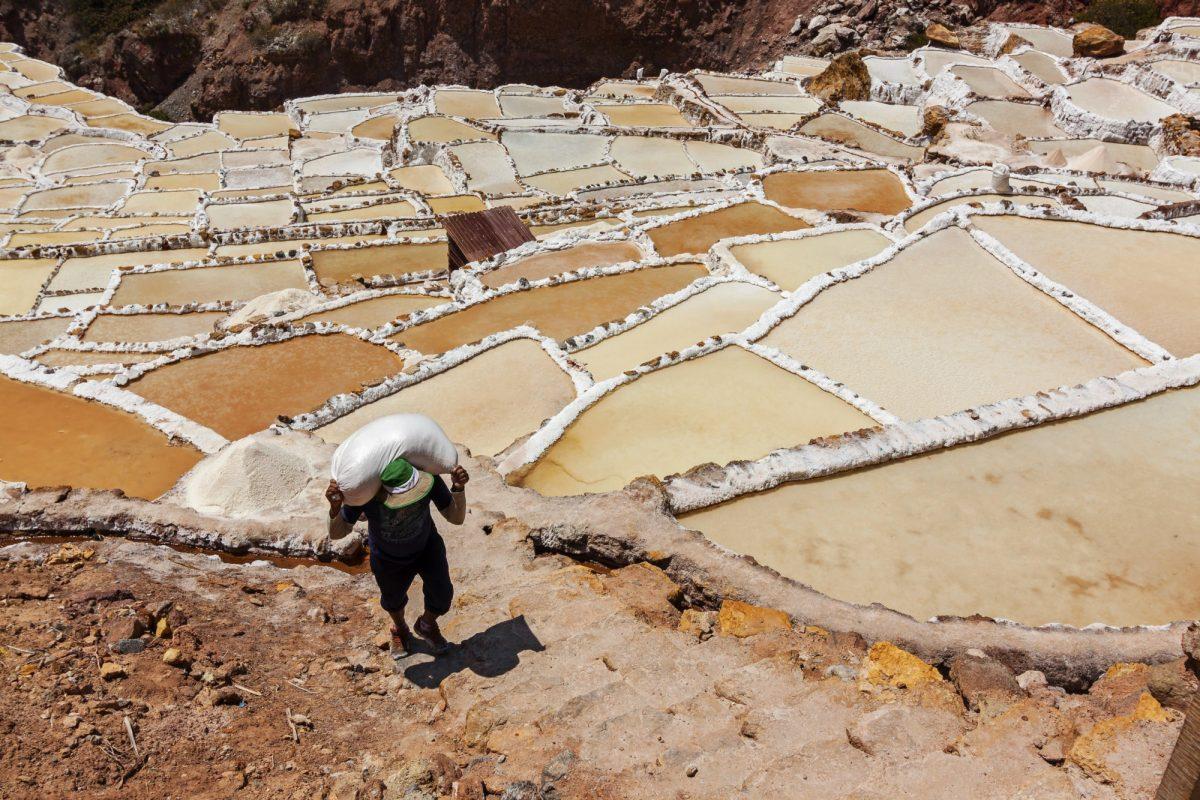 Salinas de Maras man made salt mines near Cusco Peru