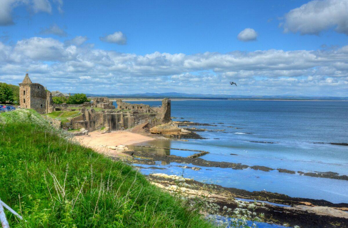 Scotland Fife Ruins of St Andrews Castle in St Andrews