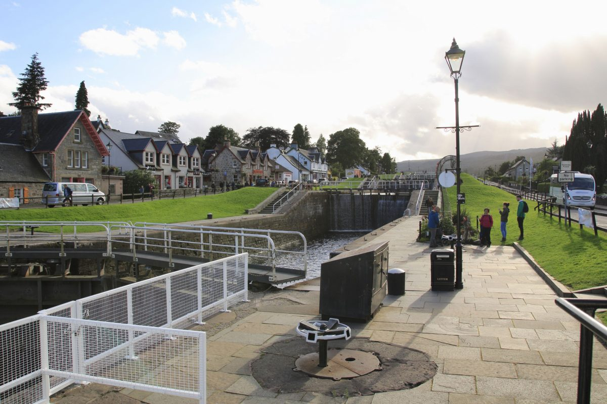 Scotland Neptunes Staircase Fort William Caledonian Canal with Ships and Watergate
