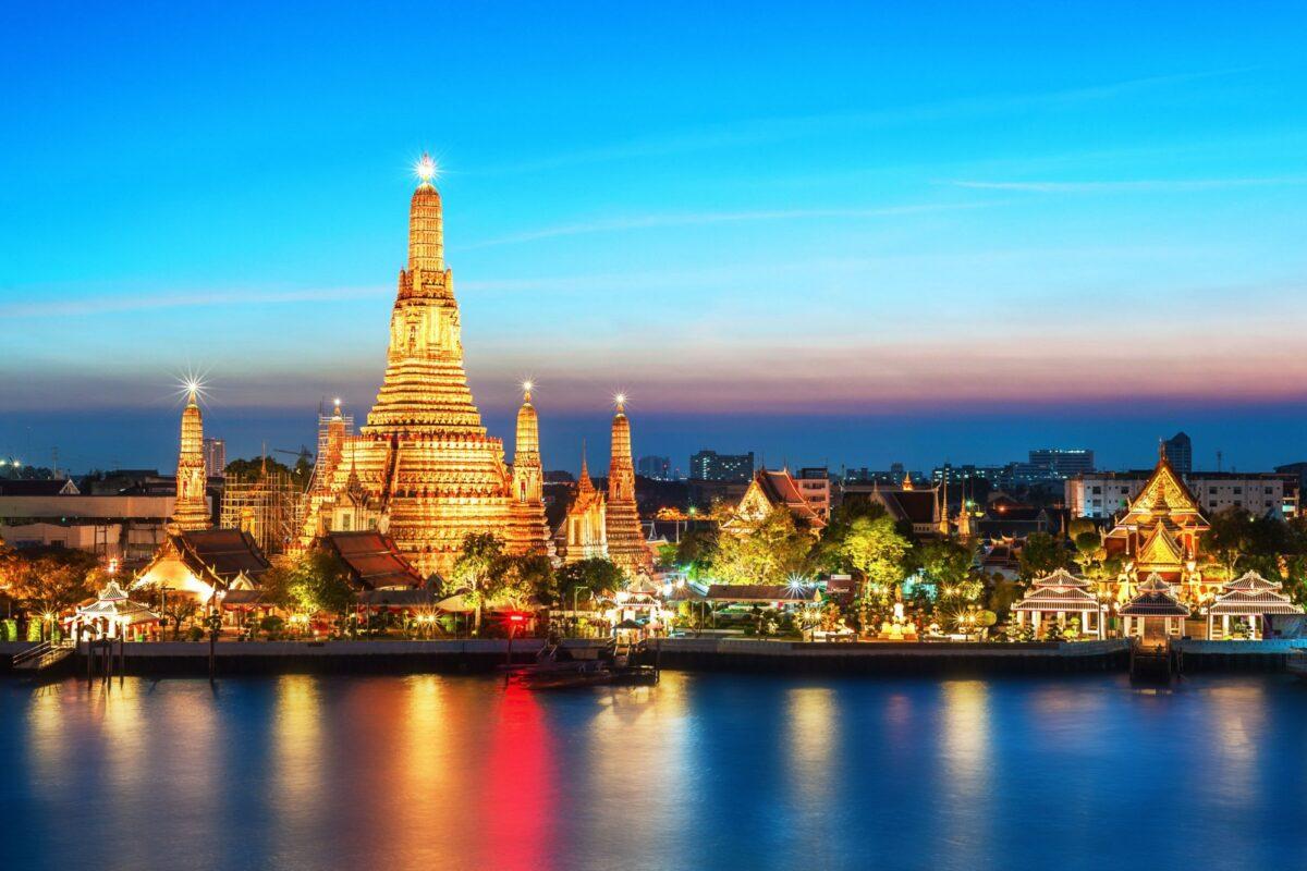 Thailand Bangkok Wat Arun night view Temple