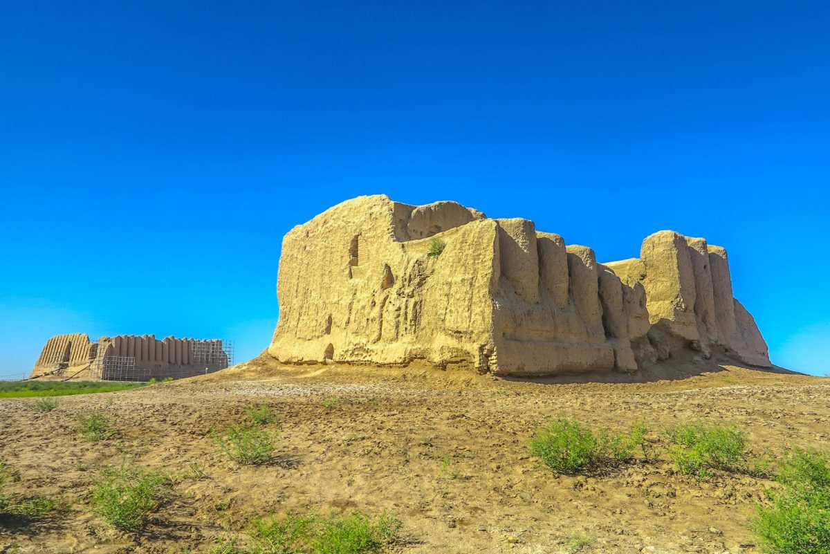 Turkmenistan Little and Great Kyz Qala Fortress at Sunset