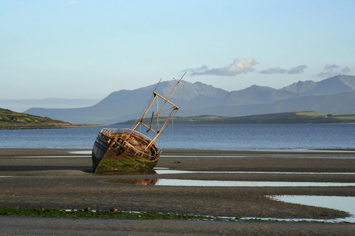 UK Scotland Ettrick Bay Bute with the island of Arran in the background