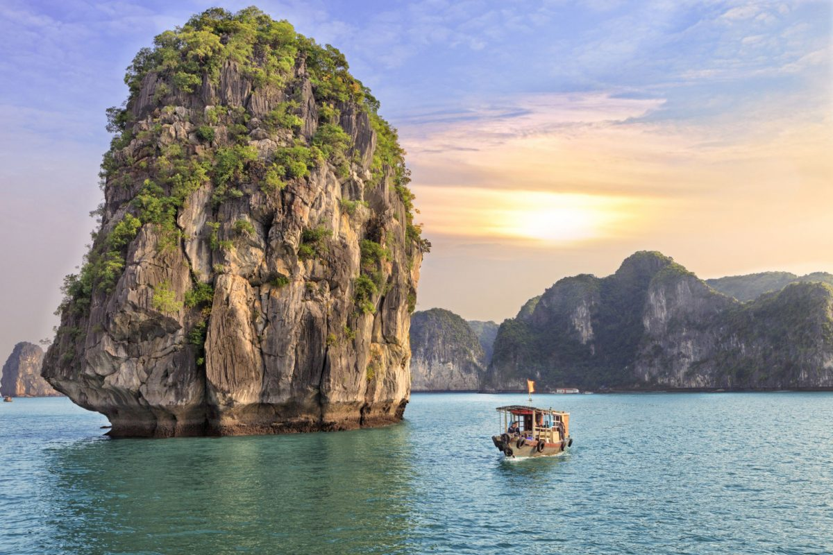 Vietnam Halong Bay sunset