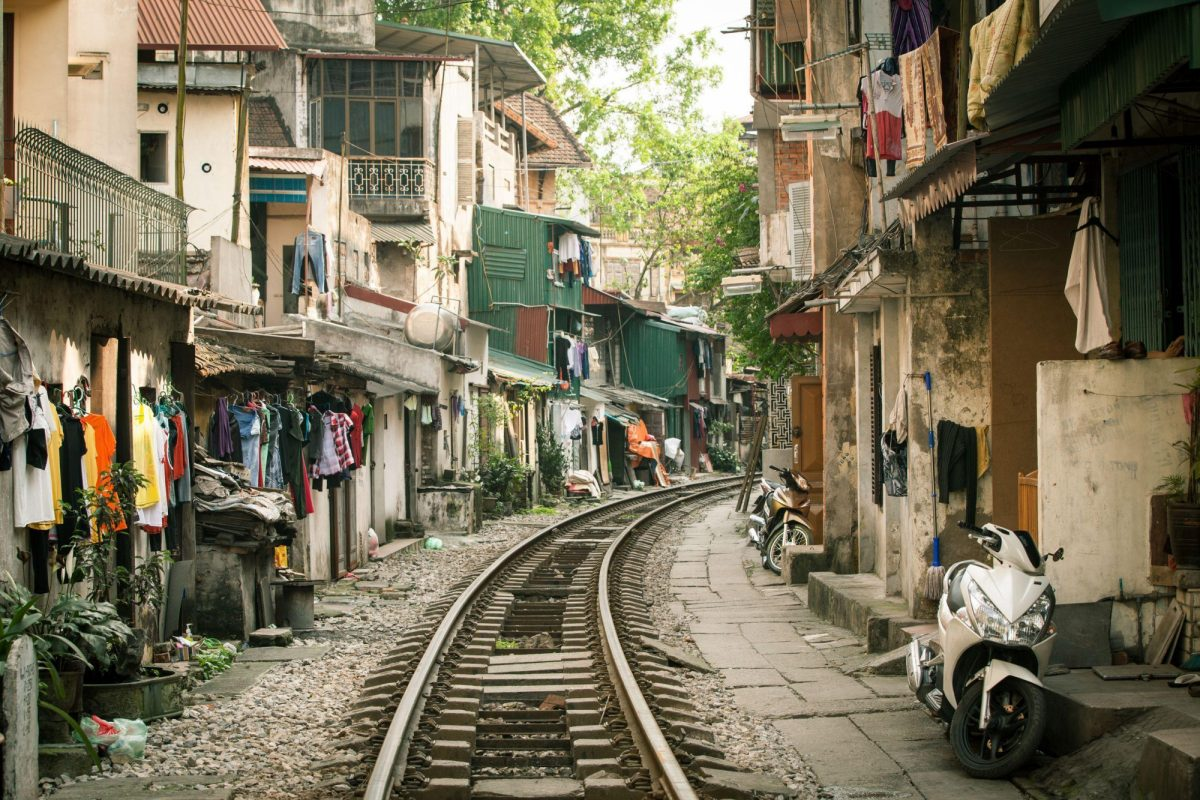 Vietnam Hanoi oldqaurtertrainline