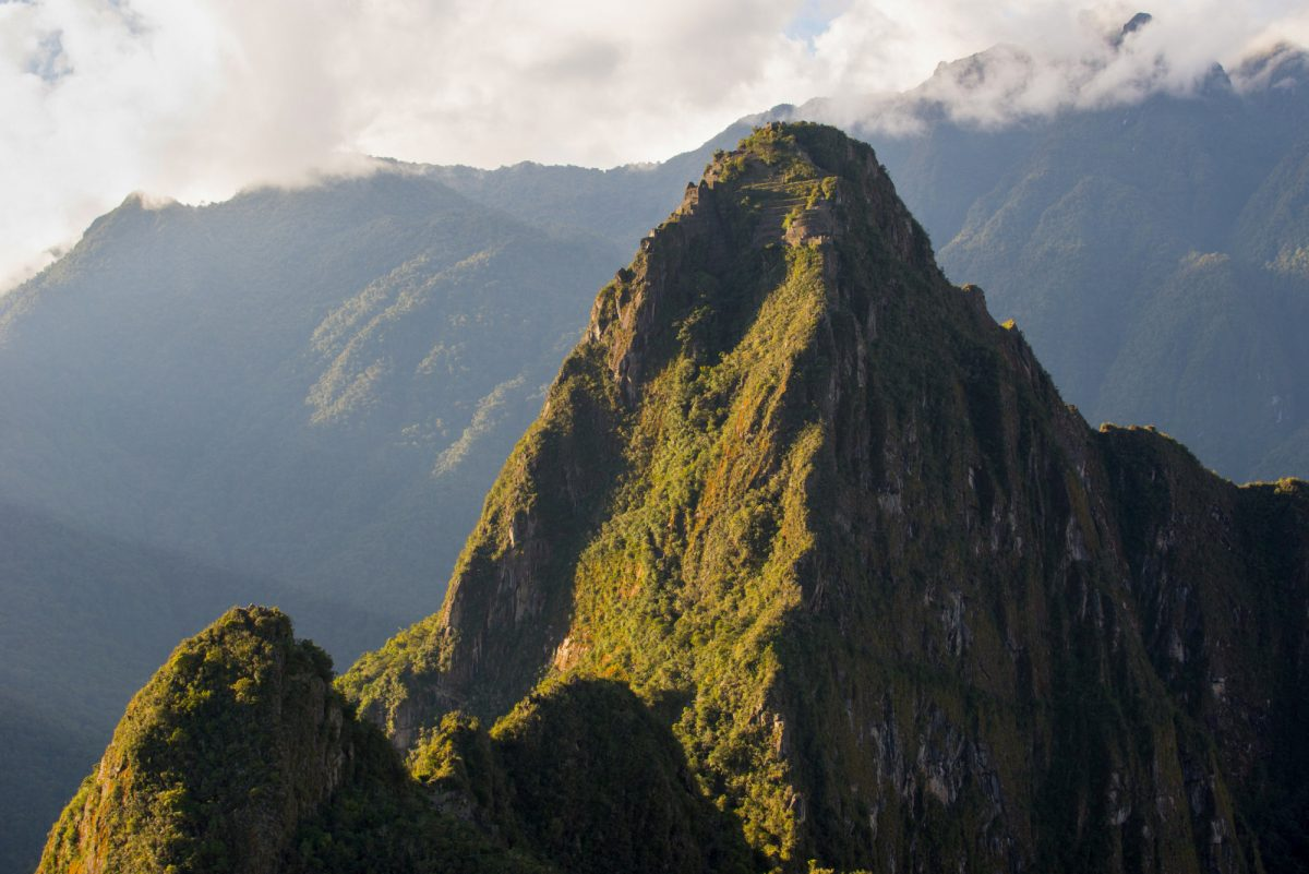View to top of Huayna Picchu with terraces Machu Picchu Peru