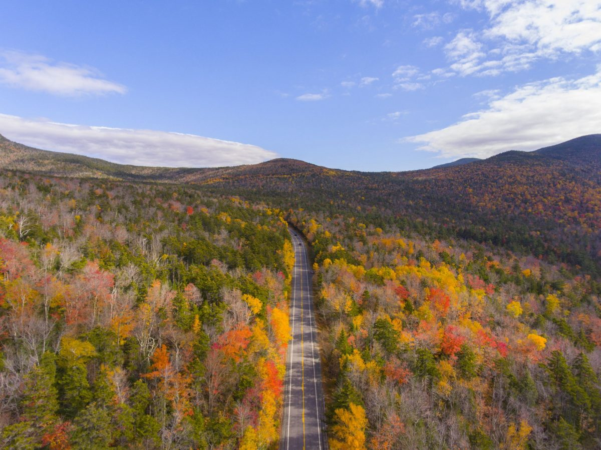 White Mountain National Forest fall foliage on Kancamagus Highway near Hancock Notch aerial view Town of Lincoln New Hampshire NH USA