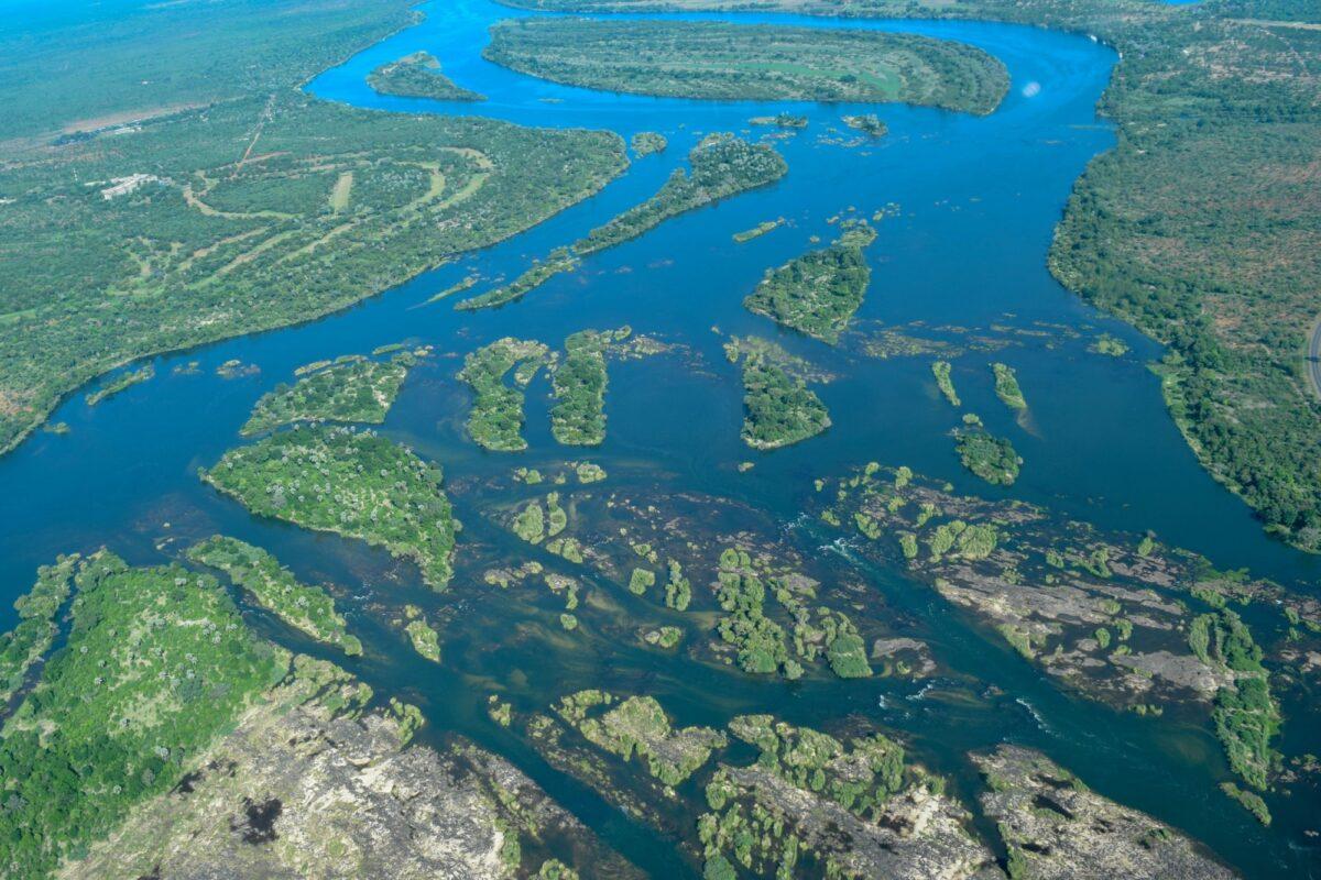 Zambia Zambezi river aerial
