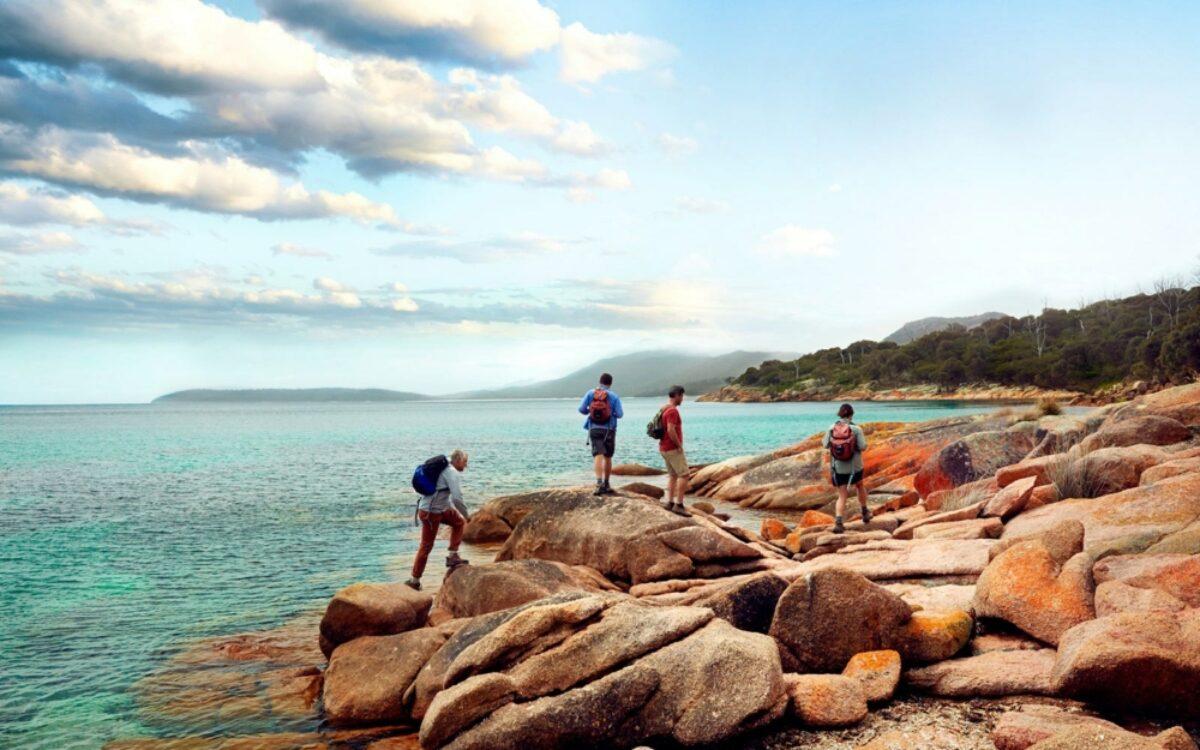 Freycinet experience walk tasmania great walks of australia walking on rocks