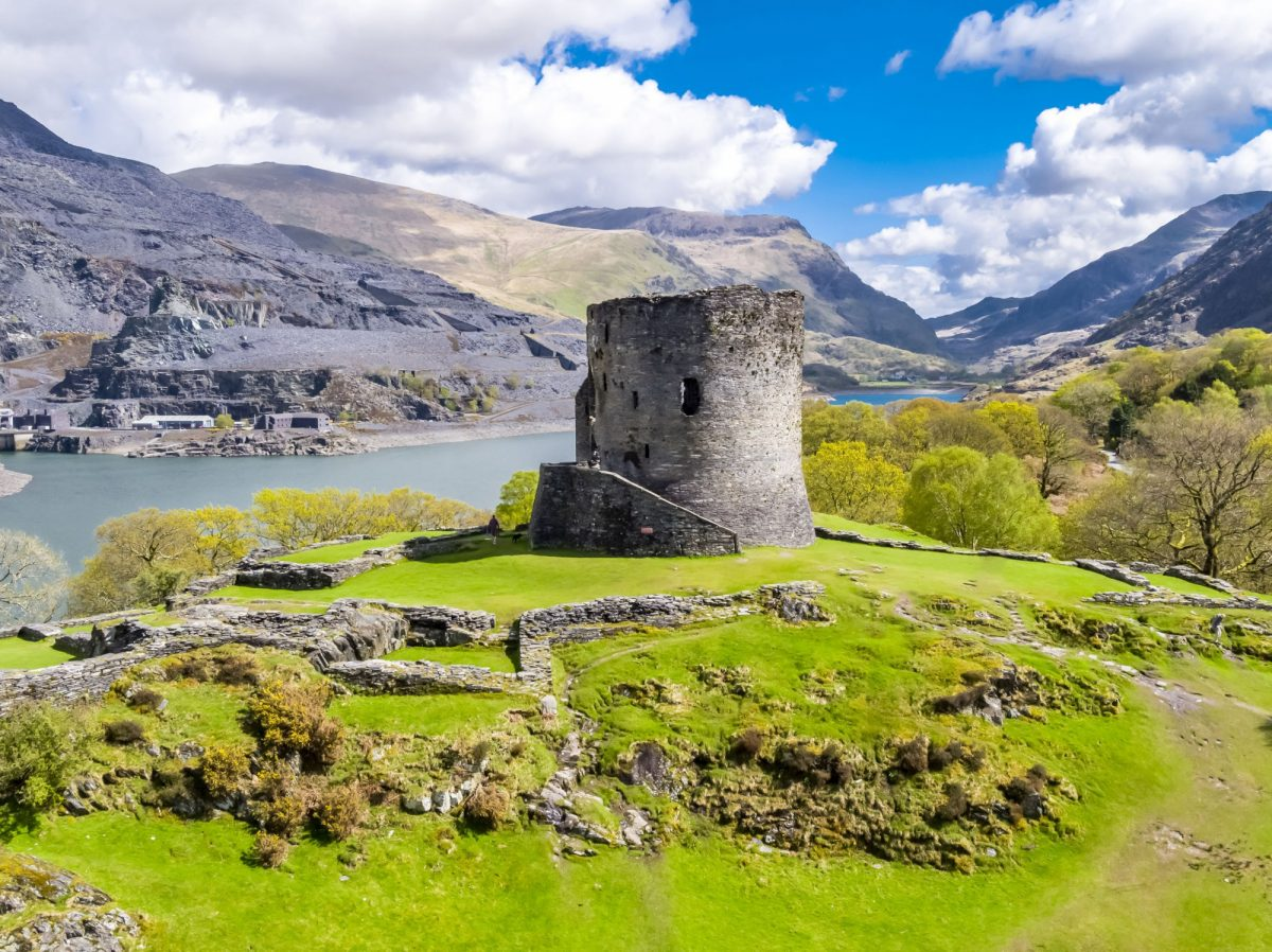 UK Wales Dolbadarn Castle at Llanberis in Snowdonia National Park in Wales