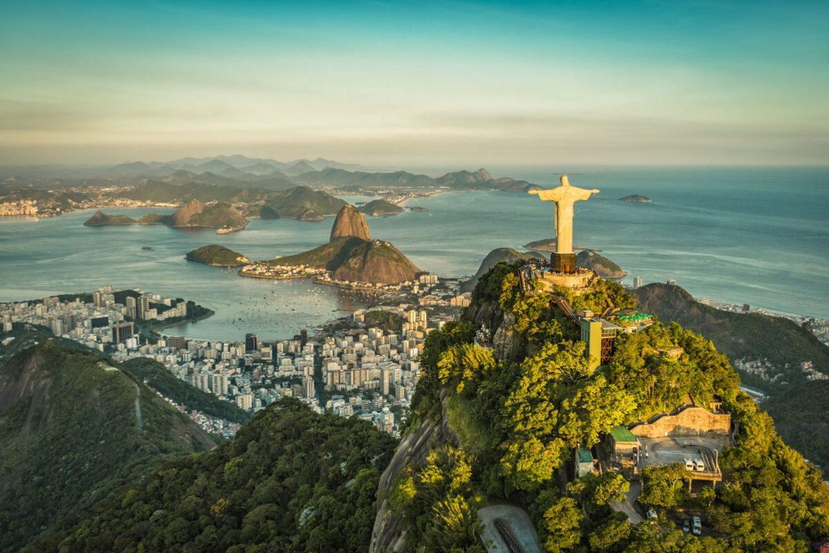 Brazil Rio Aerial view of Christ and Botafogo Bay