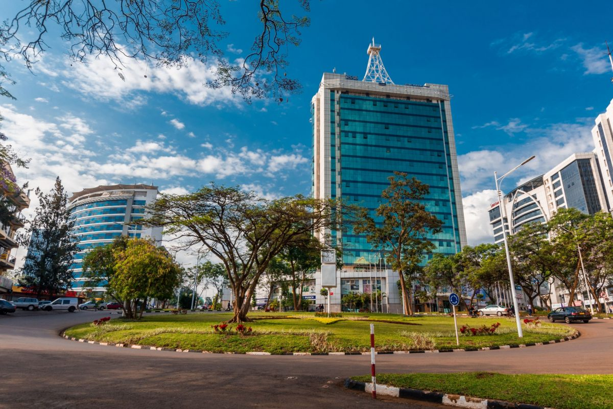Rwanda Kigali Pension Plaza and surrounding buildings at the city centre roundabout